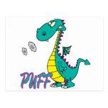 silly puff dragon cartoon character postcard