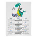 silly puff dragon cartoon character poster