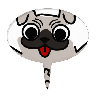 silly pug dog cake topper