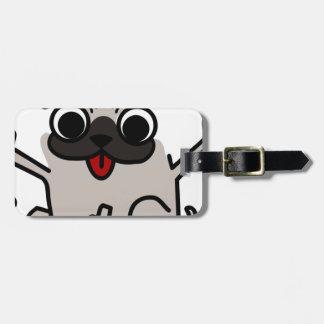 silly pug dog luggage tag