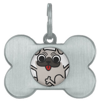 silly pug dog pet tag