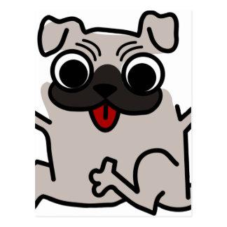 silly pug dog postcard