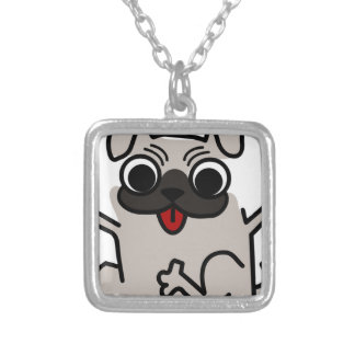 silly pug dog silver plated necklace