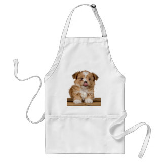 Silly puppy licking it's nose adult apron