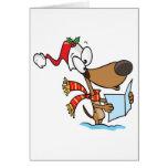 silly puppy singing xmas carols cartoon card