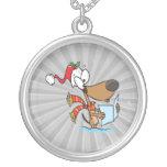 silly puppy singing xmas carols cartoon jewelry