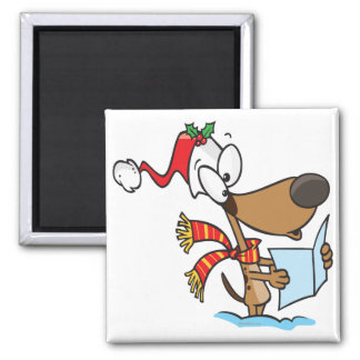 silly puppy singing xmas carols cartoon magnet