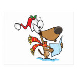 silly puppy singing xmas carols cartoon postcards