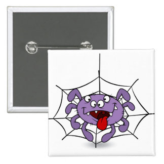 Silly Purple Cartoon Spider 2 Inch Square Button