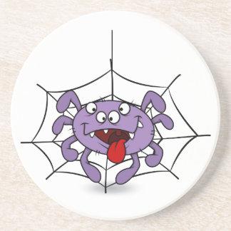 Silly Purple Cartoon Spider Drink Coaster