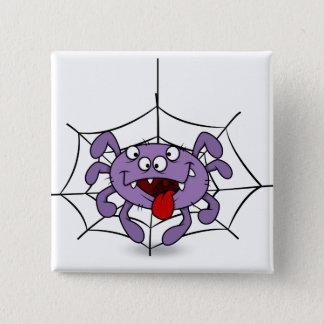 Silly Purple Cartoon Spider Pinback Button