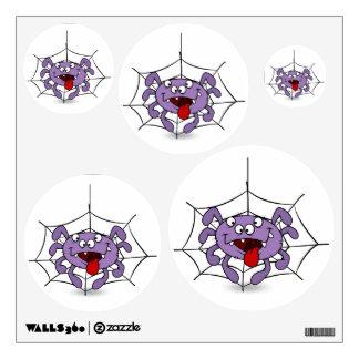 Silly Purple Cartoon Spider Wall Sticker