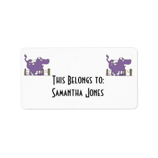 Silly Purple COw Label