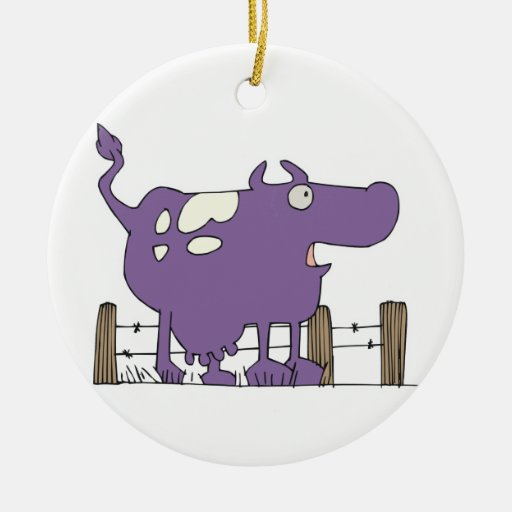Silly Purple COw Double-Sided Ceramic Round Christmas Ornament