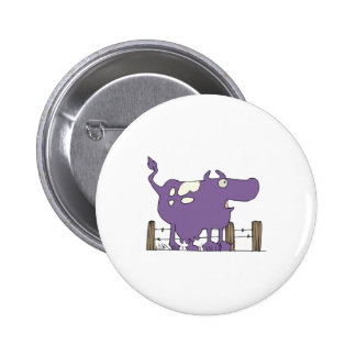 Silly Purple COw Pinback Button