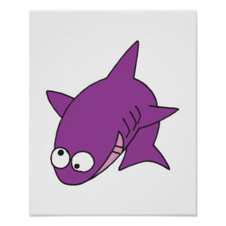 silly purple shark poster