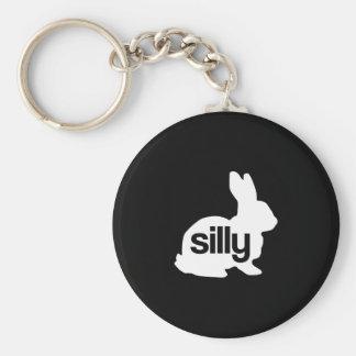 Silly Rabbit Basic Round Button Keychain