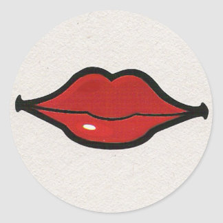 Silly Red Lips Classic Round Sticker
