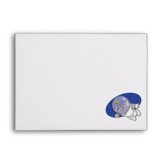 silly rhino in outer space cartoon envelope