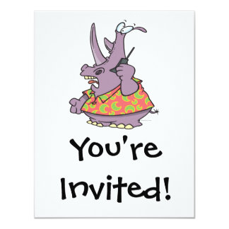 silly rhino on a cellphone cartoon 4.25x5.5 paper invitation card