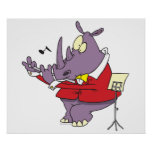 silly rhino playing flute cartoon print