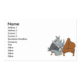 silly rhino playing piano pianist cartoon business card