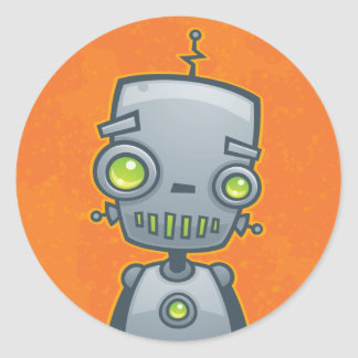 Silly Robot Classic Round Sticker