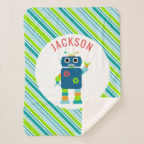 Silly Robot Kids Personalized Striped Adorable Sherpa Blanket