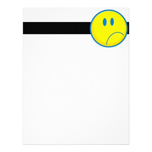 silly sad face smiley yellow and blue letterhead