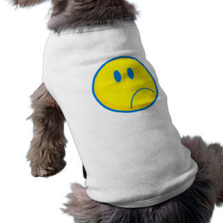 silly sad face smiley yellow and blue pet tee shirt