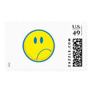 silly sad face smiley yellow and blue postage stamps