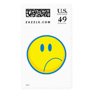 silly sad face smiley yellow and blue stamp