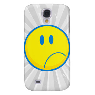 silly sad face smiley yellow and blue samsung galaxy s4 cover