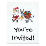 silly santa and christmas donkey 4.25x5.5 paper invitation card