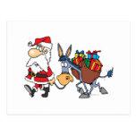 silly santa and christmas donkey postcard