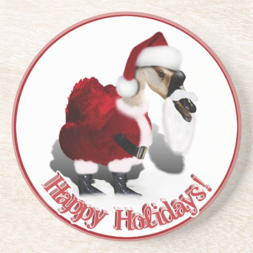 Silly Santa Goose - A Web Footed Christmas Beverage Coasters