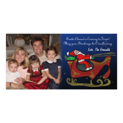 Silly Santa in His Sleigh Photo Card