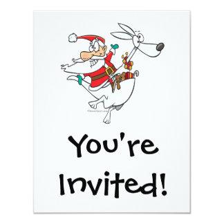 silly santa on a kangaroo funny cartoon card