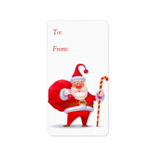 Silly Santa with Candy Cane Gift Tags