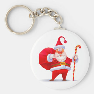 Silly Santa with Candy Cane Keychain