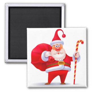 Silly Santa with Candy Cane Magnet