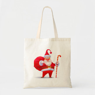 Silly Santa with Candy Cane Tote Bag