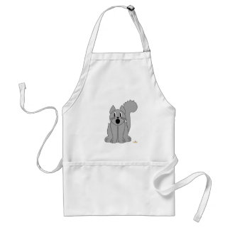 Silly Scared Gray Cat Adult Apron
