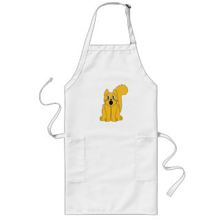 Silly Scared Orange Cat Long Apron