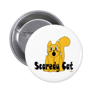 Silly Scared Orange Cat Scaredy Cat Pinback Buttons