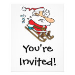 silly scared santa on a sled cartoon personalized invite