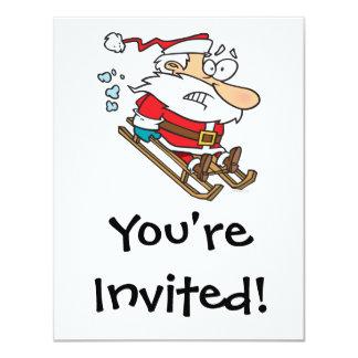 """silly scared santa on a sled cartoon 4.25"""" x 5.5"""" invitation card"""