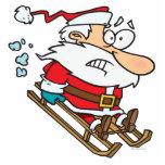 silly scared santa on a sled cartoon acrylic cut outs