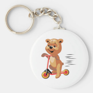 silly scooter bear keychain