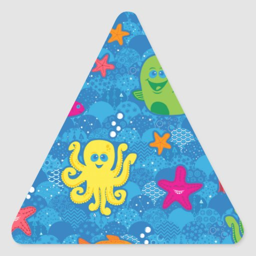 Silly Sea Creatures Triangle Sticker